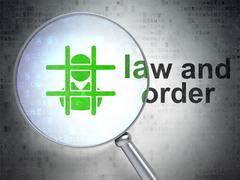 Stock Illustration of Law concept: Criminal and Law And Order with optical glass