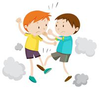 Two boy fighting each other - stock illustration