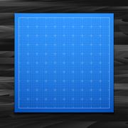 Stock Illustration of Blue isolated square grid with shadow isolated on wood texture