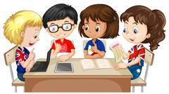 Boys and girls working in group Stock Illustration
