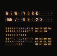 Outline countdown timer and date, flat calendar scoreboard Stock Illustration