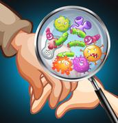 Germs on human hands Stock Illustration