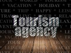 Stock Illustration of Travel concept: Tourism Agency in grunge dark room