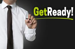 Stock Photo of Get Ready written by businessman background concept