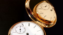 Antique 14k gold pocket watch ticking. Moving light. - stock footage