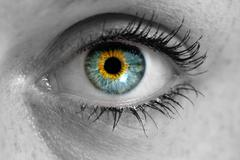 Eye looks to viewer concept macro - stock photo