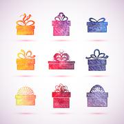 Vector gift box icons - stock illustration