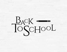 Stock Illustration of Back to school phrase on white brick wall