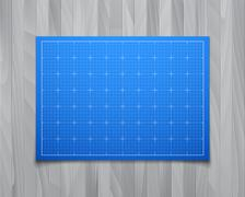 Blue isolated square grid with shadow isolated on wood texture - stock illustration