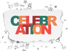 Stock Illustration of Holiday concept: Celebration on Torn Paper background