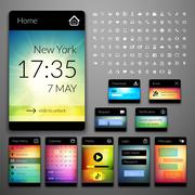 Mobile interface elements with colorful wallpaper and icon set, design for ap Stock Illustration