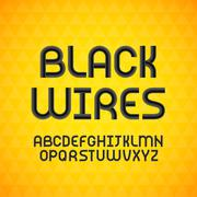 Wired wavy cable, black contour alphabet - stock illustration