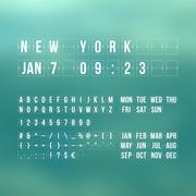 Outline countdown timer and date, flat calendar scoreboard - stock illustration