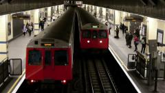 London Subway 2 Trains Passing through East end Underground station Tilmelapse s Stock Footage