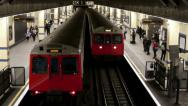 Stock Video Footage of London Subway 2 Trains Passing through East end Underground station Tilmelapse s