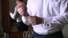 Buttons Groom Buttons On The Cuffs Shirt Stock Footage