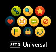 Flat icons vector set 3 - universal collection - stock illustration
