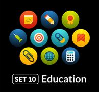 Stock Illustration of Flat icons vector set 10 - education collection