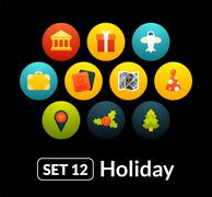 Flat icons vector set 12 - holiday collection - stock illustration