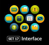 Flat icons vector set 17 - interface collection Stock Illustration