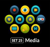 Flat icons vector set 25 - media collection - stock illustration