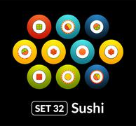 Flat icons vector set 32 - sushi collection - stock illustration