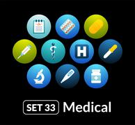 Flat icons vector set 33 - medical collection - stock illustration