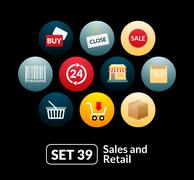 Flat icons set 39 - sales and retail collection - stock illustration