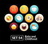 Flat icons set 54 - baby and childhood - stock illustration
