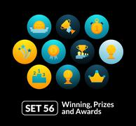 Flat icons set 56 - winning, prizes and awards Stock Illustration