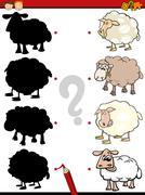 Preschool shadows task Stock Illustration