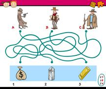 Stock Illustration of paths puzzle educational game