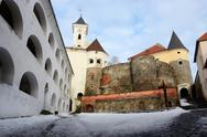 Stock Photo of Walls and towers of medieval castle Palanok located in Mukachevo city,Ukraine