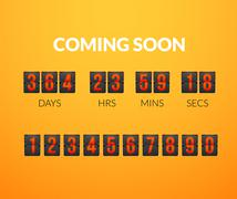 Coming Soon, flip countdown timer panel - stock illustration