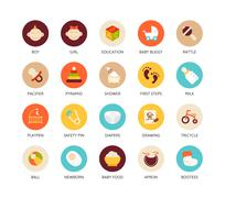 Round icons thin flat design, modern line stroke style - stock illustration
