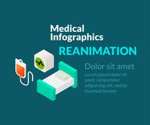 Medical healthcare infographic set with isometric flat icons, reanimation con - stock illustration