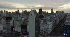 Aerial camara scene of Obelisk in Buenos Aires, Argentina - stock footage