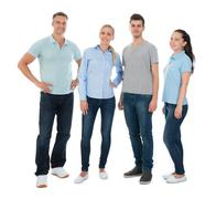 Group Of Happy People In Casual Standing Over White Background - stock photo