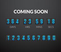 Coming Soon, flip countdown timer panel - stock illustration