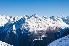 Winter Landscape Of A Ski Resort Soelden In The Oetztal Alps; Tirol; Austria - stock photo