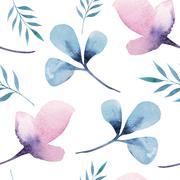 Seamless wallpaper with stylized flowers, watercolor illustratio Stock Illustration