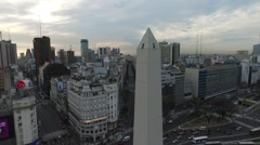 Drone scene of Obelisk in Buenos Aires, Argentina, at sunrise - stock footage