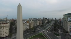 Aerial Drone scene of Obelisk,  Buenos Aires, Argentina, in the morning Stock Footage