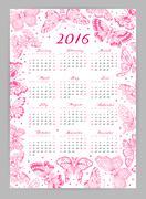Calendar 2016 year with decorative butterflies. Vector design template - stock illustration