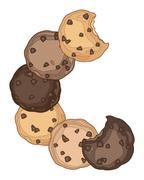 cookie crescent - stock illustration