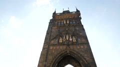 View of the Old Town Bridge Tower with its arch in Prague Stock Footage