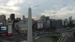 Aerial drone camera moving forward towards the Obelisk in Buenos Aires - stock footage