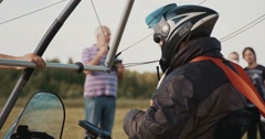 Pilot flying an ultralight Stock Footage