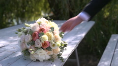 The Groom Takes The Bridal Bouquet Stock Footage