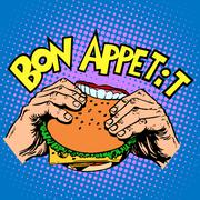 Bon appetit Burger sandwich is delicious fast food - stock illustration